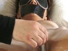 Fastened gal with leaking juicy twat oily body hard nipps