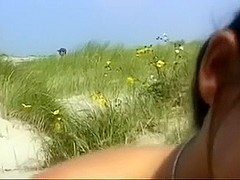 Hot sexually horny girlfriend on the beach enjoys wild sex
