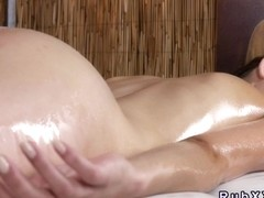 European beauty anal fingered by her masseur