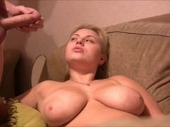 russian blondie with giant brest receive facial