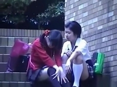 Voyeur tapes a japanese lesbian and straight couple having sex in public