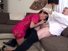 Naughty Asian horny babe PussyKat got down on her knees and deep sucking boyfriend's giant .