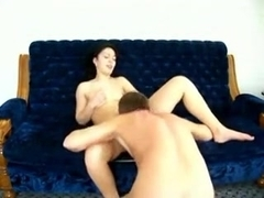 Agreeable slim brunette hair acquires done on the bed