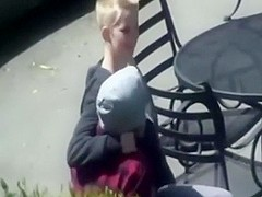 Skater fucking his short haired girlfriend in public place