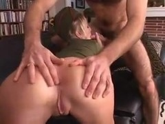 Blonde army girl gets ass fucked and receives facial