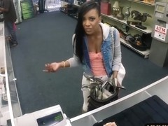 Pretty black babe fucked at the pawnshop for the golf clubs