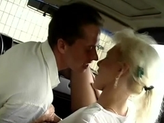 german MIlf picked up for wild car sex