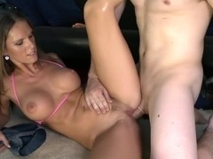 Pornstar fucks 3 guys on Bangbus