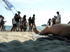 Real exhibitionist strokes his horny dick on a public beach