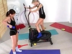 Chelsea And Sarah Work Each Other In Gym