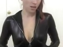 Leather catsuit & dark boots