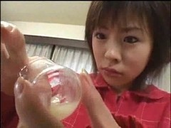 Japanese angel swallowing some cum