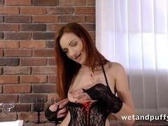 Hot redhead in lingerie dildoing her nice twat