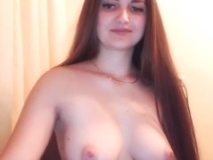 Sexy brunette playing and striptease long hair hair