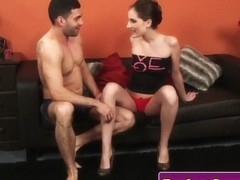 Fingered wifey double facialized in threesome