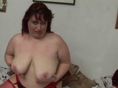 Large chubby mother likes to masturbate