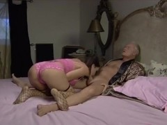 Randy honey reamed by two seedy old dudes
