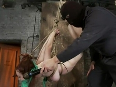 19yr old with huge FF natural breasts is suspended, spanked, gaggedmade to cum over & over.