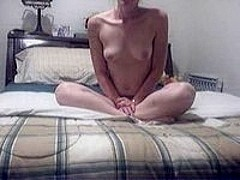 Pretty blonde masturbates with dildo
