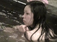 Asian mermaid going out of the pool water on spy cam nri068 00