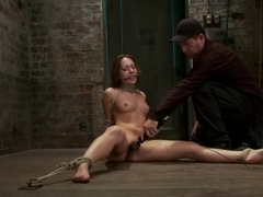 Cute girl next door, bound, face fucked, made to cum over & over, brutal bondage and pussy torture!