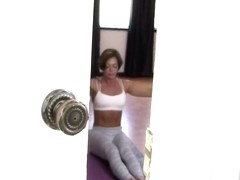 Son fucks not mom while she does yoga