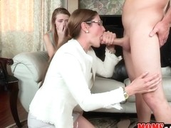 Samantha got back and found her daughter fucking