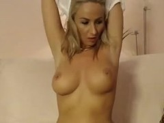 Big ass blonde has fun with her dildos