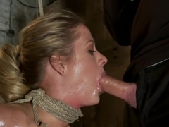 Elbows bound, knees on hard wood, nipple suction, neck rope, breath play, face fucking, made to cu.