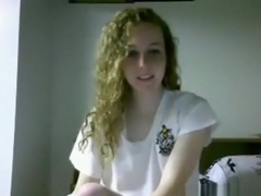 Cute girl with curly hair has cybersex with her bf