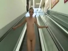 Public facial walking undressed in supermarket