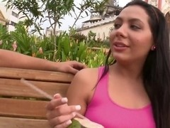 A fancy frail with a big butt shows off on the bench showing her boobies