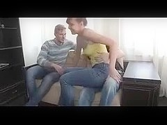 Cute youthful girl fucked while boyfriend watches