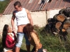 Glamourus threeway with boy-friend whille outdoors jointly