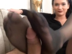college girl black pantyhose footjob