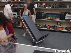 Muscular Babe Spreads at Pawn Shop