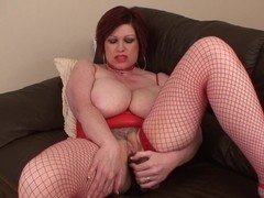 Sexy Breasty Cougar Smokin' and Playing