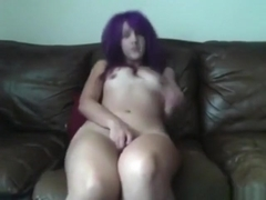 Emo girl masturbates on the sofa and roleplays like someone is fucking her !!!