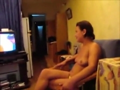Brunette sucks her bf's cock pov on a chair