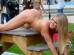 Taping sizzling hot blonde stripper teasing many fella-allies