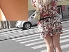 Stylish and kewl golden-haired upskirt footage