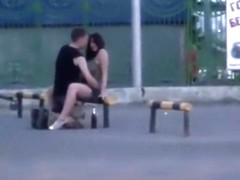 Young couple caught trying an odd pose