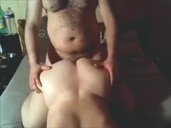 Cute chubby amateur bimbo with delicious butt enjoys getting my dick in her fanni from a doggystyl.