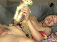 Legal Age Teenager Bridgette humps a pillow whilst fucking her shaggy cookie