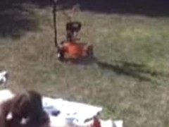 Hot blowjob in the back yard