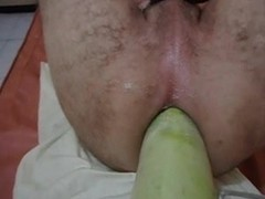 Femdom Vegetable Fist & Foot in Unrepining Male Butt