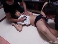 Wakaba Onoue horny Asian teen in mmf group action