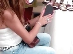 Woman in tight jeans exposed thong