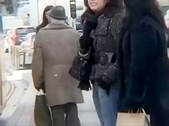 My dark-haired excited wife flahes her goodies in public