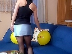Fun with balloons in front of webcam